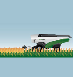 Autonomous combine harvester on a field vector