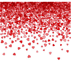 background of random falling hearts vector image