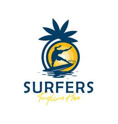 beach surfing sports logo design vector image