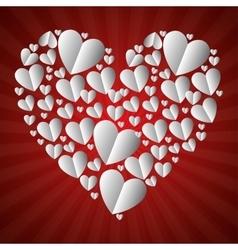 Beautiful hearts form big heart vector