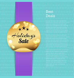 best deals poster holidays sale golden round label vector image