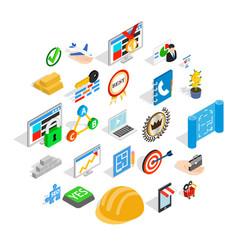 best employee icons set isometric style vector image