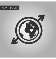 Black and white style icon gays Earth symbol vector