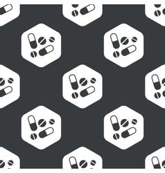 Black hexagon medicine pattern vector