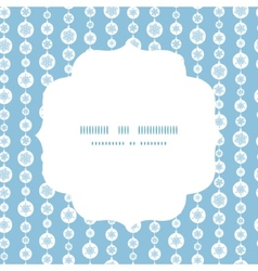 Blue and white snowflakes stripes circle frame vector