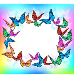 Bright butterfly blank frame vector