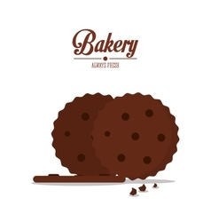 Brown coockie of bakery design vector