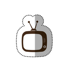 Brown old television with antenna icon vector