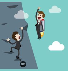 businessman has bad start because of debt startup vector image
