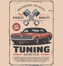 Car diagnostic tuning services poster vector