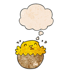 Cartoon hatching chick and thought bubble in vector