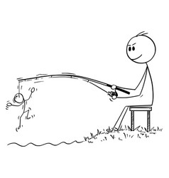 Cartoon man or businessman fishing and angling vector