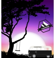 Cartoon Minibus in Nature a Tree Silhouette vector