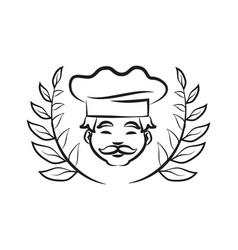 chef wearing hat laurel branch vector image
