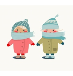 children in winter cloth vector image