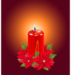 Christmas candle with poinsettias vector image
