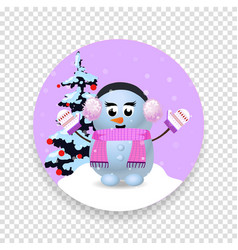 christmas new year round icon with cute snowman vector image