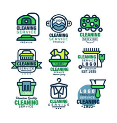 Cleaning service premium quality logo design set vector