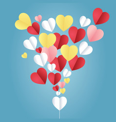Colorful paper hearts on a blue background used vector