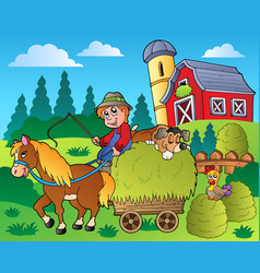 Country scene with red barn 9 vector