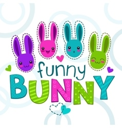 Cute colorful kids with bunny faces vector