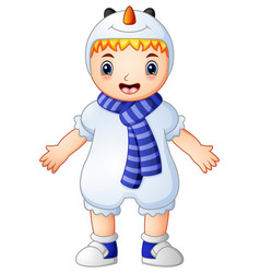 Cute little boy wearing christmas snowman costume vector