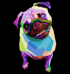 cute pug on geometric pop art style abstract vector image