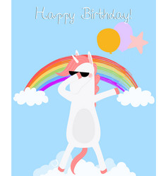 Dabbing unicorn happy birthday card dab horse vector