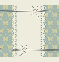 decorative lace frame with butterflies and flowers vector image
