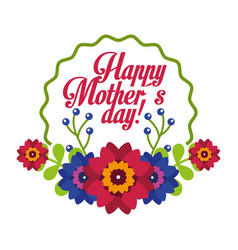 delicate flowers decorative label happy mothers vector image