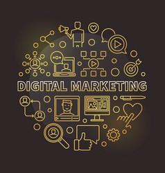 Digital marketing round golden outline vector