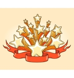 Dooddle Gold Stars and Red Banner vector image