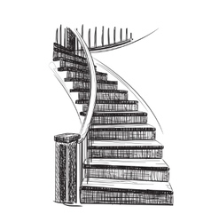 Drawn Staircase Sketch vector