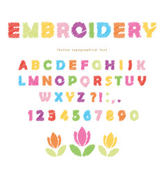 Embroidery colorful font design isolated on white vector