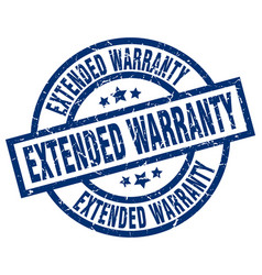 Extended warranty blue round grunge stamp vector