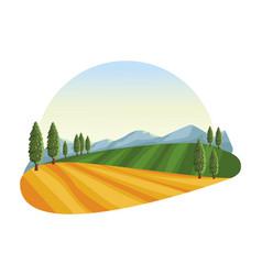 Farm landscape icon vector