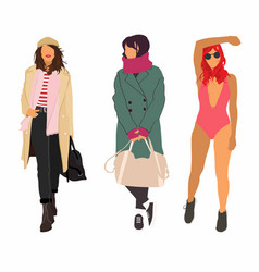 fashion woman set vector image