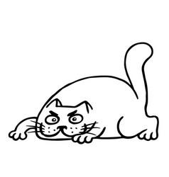 fat cartoon cat preparing to attack vector image