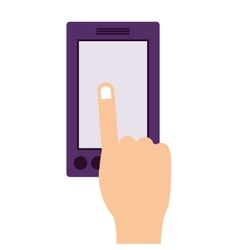 Finger touching a smartphone screen vector