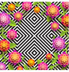 Flowers on a abstract geometric black and white b vector
