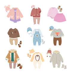 Funny bakids clothes icon set vector