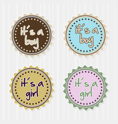 girl boy badges vector image
