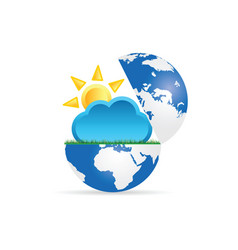 globe with sun and cloud vector image