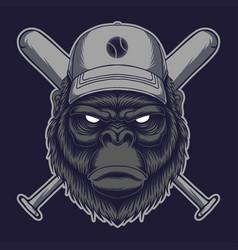 gorilla head stick baseball vector image