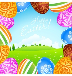 Green landscape background with easter eggs vector