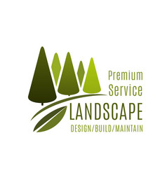 Green landscape design service trees icon vector