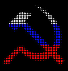 halftone russian sickle and hammer icon vector image