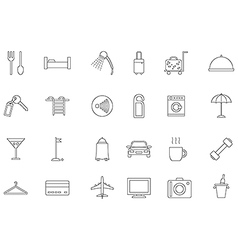 Hotel service black icons set vector