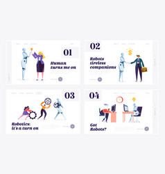 Human and robot website landing page vector