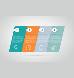Infographic 4 step process horizontal tilted skew vector